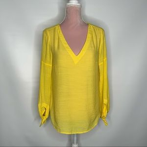 Maeve Anthropologie bright yellow top.